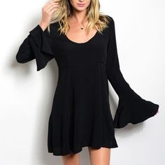 Boho Bell Dress Black Boho Bell Dress! Comfortable Swing Fit with Long Bell Sleeves and a scooped neckline. Perfect for festivals or summer nights paired with wedges or gladiator sandals! 100%Rayon  Sizes Available: S,M,L  *Please let me know which size you'd like, and I'll create you a new listing* Thank you, Xo Boutique Dresses Mini