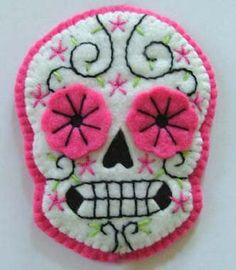 Day of the Dead Sugar Skull Hair Clip in Pink by TheDollCityRocker