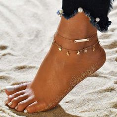 Women Dual layer Star Pendant Anklet Ankle Bracelet Sandals Barefoot Jewelry Leg Chain, Ankle Chain, Double Chain, Metal Chain, Beach Foot Jewelry, Accesorios Casual, Ankle Jewelry, Feet Jewelry, Earrings