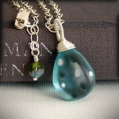 London Blue Topaz Necklace Pendant - Wire Wrapped Large Teardrop, Vintage Bead, Sterling Chain