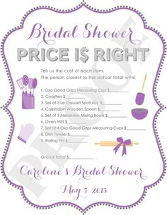 printable bridal shower price is right game personalized jpeg file