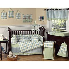 @Overstock - This blue and green argyle nine piece baby bedding set was created by JoJo Designs. This set includes a blanket, crib bumper, crib skirt, fitted sheet, toy bag, decorative throw pillow, diaper stacker, and two window valances.http://www.overstock.com/Baby/Blue-and-Green-Argyle-9-piece-Crib-Bedding-Set/5298423/product.html?CID=214117 $169.99