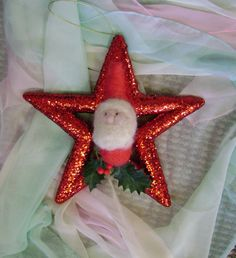 Christmas Star Santa  Waldorf inspired  Handmade by softearthart