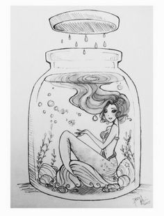 Mermaid in a bottle! Mermaid in a bottle! Cartoon Drawings, Drawing Sketches, Cool Drawings, Drawing Ariel, Amazing Drawings, Pencil Drawings, Anime Mermaid, Mermaid Art, Mermaid Drawings