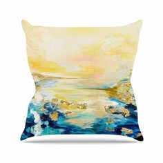 "Ebi Emporium ""The Reverie"" Yellow Blue Throw Pillow from KESS InHouse"