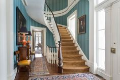 Tour Beautiful Westview, A Classic Greek Revival Designed For Today. Fabulous staircase. Love that blue
