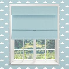 Cordless Baby Blue 30.5 In. x 64 In. Magnetic Roman Shade