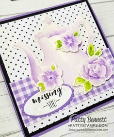 No Line Watercoloring Teapot Card - Patty Stamps Tea Party Crafts, Easy Magic Tricks, Polka Dot Paper, Card Tricks, Stamping Up, Homemade Cards, Stampin Up Cards, Your Cards, Making Ideas