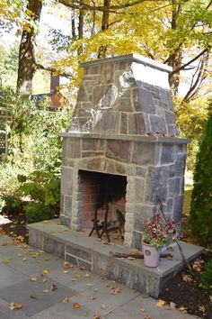 An outdoor kitchen can be an addition to your home and backyard that can completely change your style of living and entertaining. Earlier, barbecues temporarily set up, formed the extent of culinary attempts, but now cooking outdoors has become an. Outside Fireplace, Backyard Fireplace, Brick Fireplace, Backyard Retreat, Backyard Patio, Backyard Ideas, Landscaping Ideas, Pergola Ideas, Backyard Designs