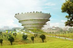 Proposals for the New Taipei City Museum of Art keep rolling in, and Paris-based INFLUX_STUDIO just unveiled their incredible concept. The Spiral Garden Museum is a spiraling, cork-screw structure covered with lush and diverse vegetation that winds all the way up to a green roof terrace and outdoor exhibition space.