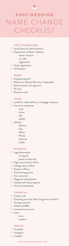 A free, downloadable checklist to help you change your name post-wedding! If you're considering a name change, this article is for you.