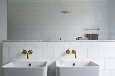 twin sinks, gold fixtures, shower in front of the sink? Eclectic Bathroom, Brass Bathroom, Bathroom Spa, Laundry In Bathroom, Washroom, Bathroom Interior, Master Bathroom, Bad Inspiration, Bathroom Inspiration