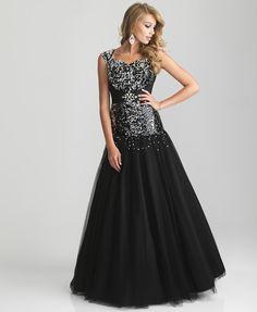 Black Sequin  amp  Tulle Drop Waist Lace Up Modest Prom Gown - Unique  Vintage - 67e2f0544
