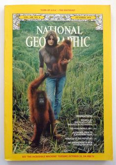 National Geographic October 1975  Birute Galdikas and the Orangutans of Borneo by vintagememory, $10.00