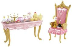 Disney Princess Belle Dining Room Scene Set by Mattel. $27.39. Girls can recreate their favorite Disney fairytale moments. Great addition to your childs Beauty and the Beast Toy Collection. Features Mrs. Potts, Chip, Lumiere, and Babette. Includes table, chair, and accessories. Relive all the magic from the classic Disney film Beauty and the Beast. From the Manufacturer                Disney Princess Beauty and The Beast Belle Dining Scene Gift Set: Dining is an enchanting treat...