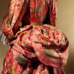 Detail of back draping, Dress (Mantua), British, c 1708. silk. Metropolitan Museum of Art.