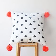 "NEW! Decorative Pillow, Neon Pompom Kids Pillows, Modern Nursery Pillow, Geometric Decorative Pillow, Teen Pillow, Throw Pillow 16"" x 16"" on Etsy, $38.00"