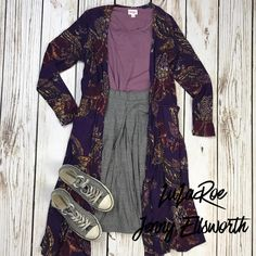 LuLaRoe Irma Tunic, Madison Skirt, Sarah Cardigan and Converse All Stars. Join my shopping group to shop my outfits! www.facebook.com/groups/LuLaRoeJenny/