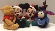 DISNEY Christmas Holiday Lot of 4 Mini Plush Santa MICKEY MINNIE POOH EEYORE