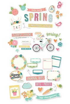 I love when the spring and Easter kits are released, my absolute favorite! Free Stickers, Printable Stickers, Simple Stories Snap, Hip Hop Hooray, Easter Printables, Hoppy Easter, Junk Journal, Make It Simple, Daisy