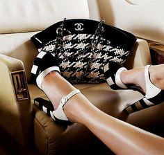 chanel black & white heels