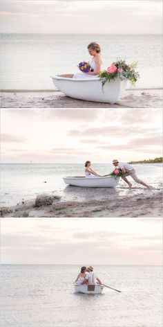 Paddle boat in key west for a romantic wedding exit. #weddingchicks Captured By: Filda Konec Photography http://www.weddingchicks.com/2014/06/16/boho-chic-beach-wedding/