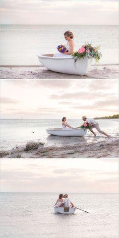 Paddle boat in key west for a romantic wedding exit. #weddingchicks Captured By: Filda Konec Photography http://www.weddingchicks.com/2014/06/16/boho-chic-beach-wedding/