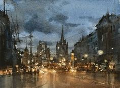The Moscow Nocturne / Watercolor Demo by Chien Chung Wei, 27 x 36 cm Watercolor City, Watercolor Artists, Watercolor Landscape, Landscape Paintings, Watercolor Paintings, Watercolors, Watercolor Portraits, Abstract Paintings, Painting Art