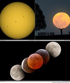 Amazing pictures of Moon and Sun