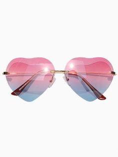e0dda366d95 Gradient Red-Blue Heart Shaped Aviator Sunglasses Heart Shaped Glasses