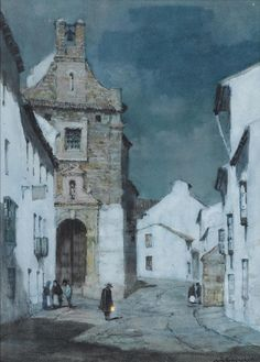 catonhottinroof:  Albert Moulton Foweraker (UK,1873 — 1942) An evening street scene, Spain