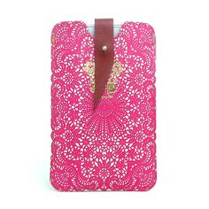 Leather iPhone case - Hot Pink Lace. $50.00, via Etsy.
