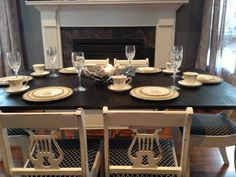 Distressed Duncan Phyfe Styled Table and Chairs by Thistle Thatch Designs