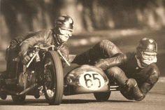 Vintage Motorcycle sidecar racing *