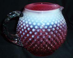 Art Glass North American Reasonable Vintage Fenton Opalescent Cranberry Hobnail Squat Pitcher