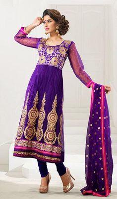 $72.65 Purple A Line Embroidered Net Anarklai Salwar Kameez 25352