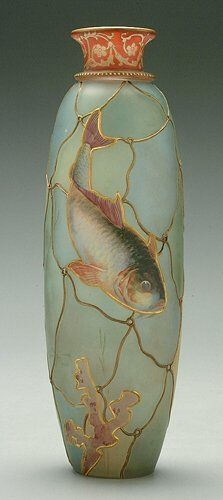 wasbella102:  Royal Flemish vase with fish design by Mount Washington Glass