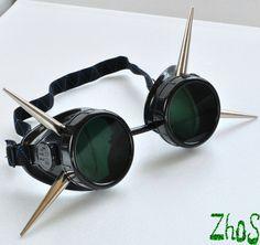 Black Cyber Goth Goggles Glasses 4  Spikes CyberPunk by olnat31sun. , via Etsy.