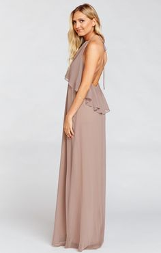 Here's a really fun high-low dress on top and bottom! And since Aimee Ruffle Maxi is a halter there's just another excuse to show off those shoulders and all that time you've spent perfecting downward facing down and planking.                                             *MADE IN THE GORGE USA* *100% Poly Chiffon  *Ties at Neck *Slight empire waist  *Lined to the ground *Mumu Bridesmaid dresses are standard 'long' bridesmaid length. They will fit most heights and heels, and are meant to be…