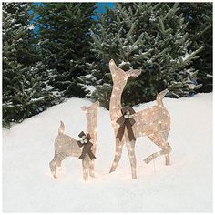 pre lit glittering champagne doe and fawn 2 piece set at big lots christmas yard decorationsdecorating - Big Lots Christmas Lawn Decorations