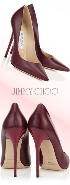 JIMMY CHOO Jimmy Choo Women's Burgundy Leather Pumps #pumps #shoes #heels #afflink #burgundy #jimmychoo