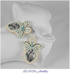Very light hand made soutache earrings Pearl & Lace perfect