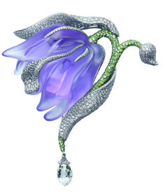 Caresse d'Orchidées par Cartier brooch in platinum with amethyst, garnets and briolette-cut diamonds