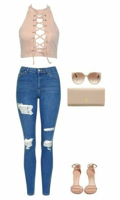 A fashion look from November 2016 featuring pink top, ripped jeans and summer shoes. Browse and shop related looks. Really Cute Outfits, Cute Swag Outfits, Cute Comfy Outfits, Girly Outfits, Retro Outfits, Stylish Outfits, Beautiful Outfits, Girls Fashion Clothes, Teen Fashion Outfits