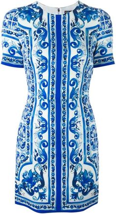 Dolce & Gabbana 'Majolica' print  fitted dress, Fashion, Blue Majolica, h-a-l-e.com #SummerBlue