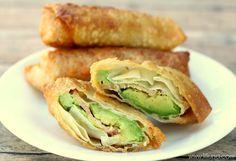Avocado Bacon Egg Rolls recipe on { lilluna.com } These are so good! #eggrolls