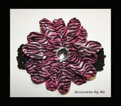Zebra Hot Pink Glitzy Flower Crochet Headband by accessoriesbyme, $11.99
