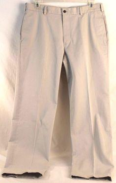BROOKS BROTHERS Mens Pants Size 36Wx32L Flat Front Cotton Khaki Chino Clark #BrooksBrothers #DressFlatFront
