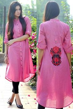 Pleated Pink Dotted Cotton Shirt with Embroidered Back Motif Kurti Neck Designs, Kurta Designs Women, Blouse Designs, Shirt Style Kurti, Pakistani Formal Dresses, Kurti Patterns, Embroidery Suits Design, Kurti Collection, Indian Attire
