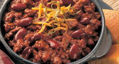All American Chili: A bowl of warm chili is satisfying comfort food on a cold day. For informal get-togethers, serve in a slow cooker to keep it warm.
